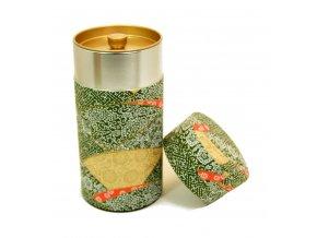Dóza na čaj tmavě zelená se zlatou a japonskými motivy