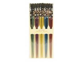 Sada barevných hůlek se vzory kvítků  5párů