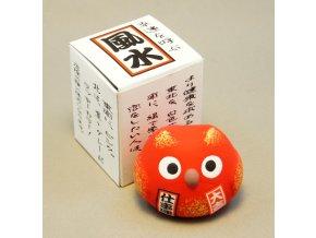 Japonská sovička pro štěstí ( červená )