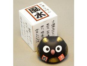 Japonská sovička pro štěstí ( černá )