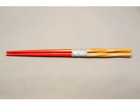 Tokyo hůlky bambus a půlka červený lak ( 8440 )