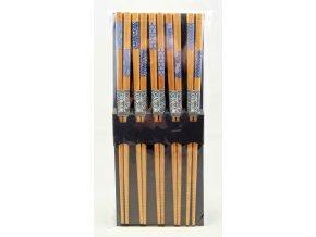 Tokyo set bambusových hůlek s modro bílými vzory ( 8216 )
