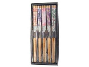 Tokyo set bambusových hůlek v krabičce se vzory květin  ( 4811 )