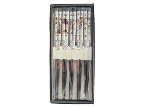 Tokyo set bambusových hůlek v krabičce se vzory geiš  ( 4131 )