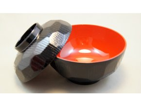 Tradiční Japonská miska na miso polévku černo červená  vetší