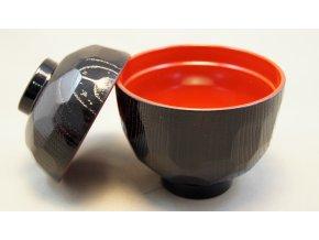 Tradiční Japonská miska na miso polévku černo červená  malá