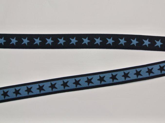 Pruženka plochá oboustranná 2cm hvězdy tmavě modrá