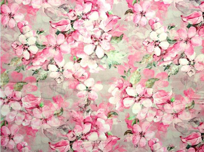 Bavlněný satén s růžovými květy (digitisk)