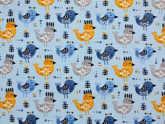 Elastický úplet ptáčci folklor na světle modré