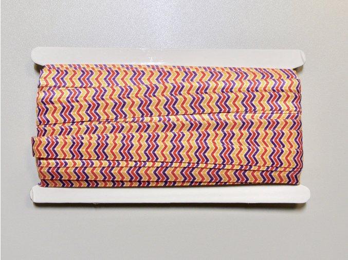 Pruženka lemovací 15mm cik-cak červená-fialová-žlutá