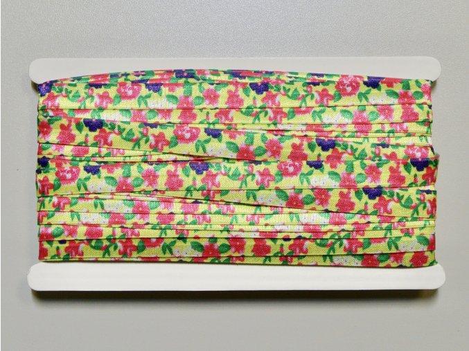 Pruženka lemovací 15mm s kytičkami na zelené