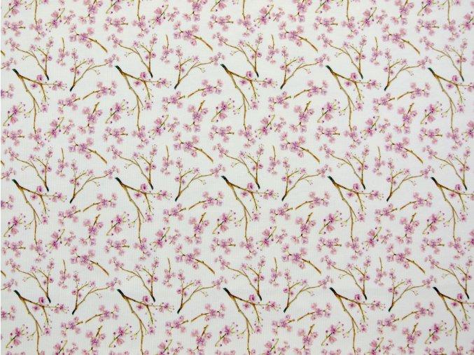Elastický úplet drobné růžové květy na krémové