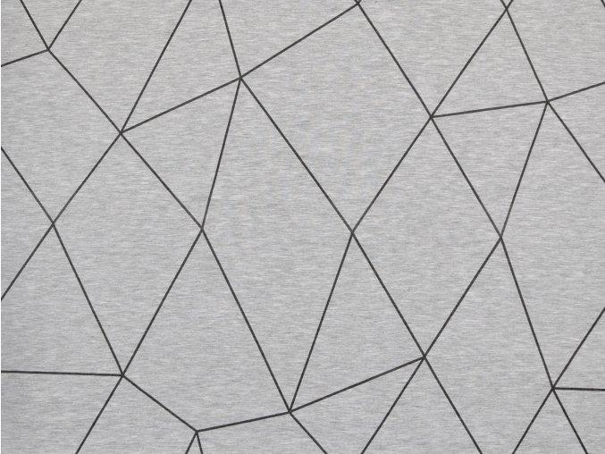Elastická teplákovina geometrie na světle šedém melíru