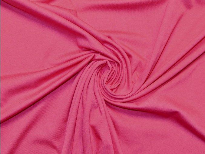 Bavlněný úplet jednolíc sytě růžový (vyšší gramáž)