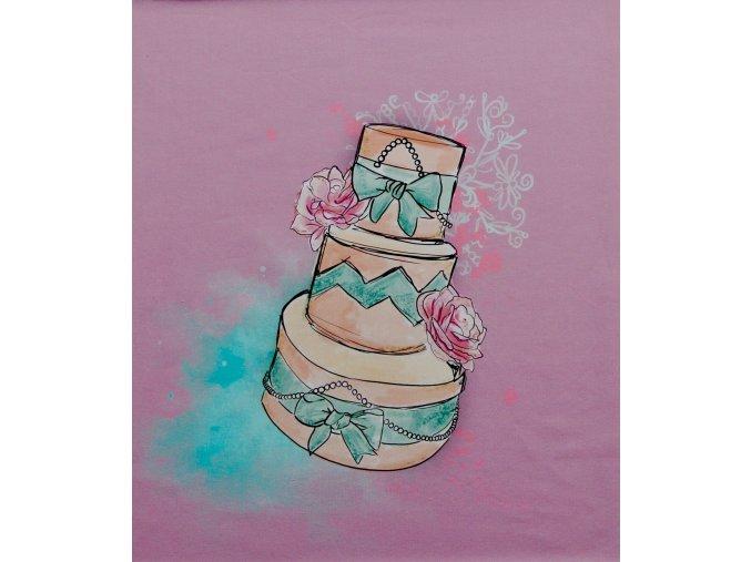 Elastická teplákovina dort - růžovofialová (panel)