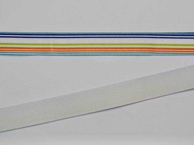 Pruženka plochá 2,5cm tenké proužky na bílé
