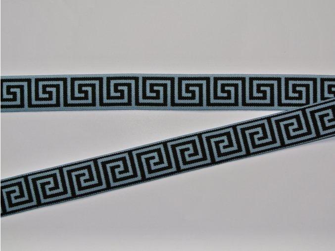 Pruženka plochá 2,5cm řecký vzor ledově modrá