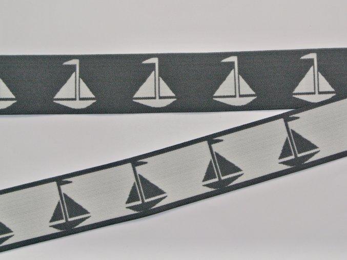 Pruženka plochá 4 cm oboustranná loďky šedé