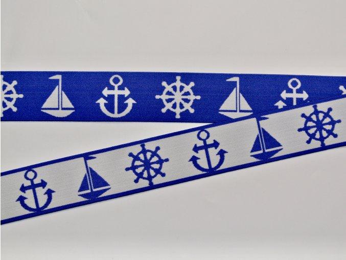 Pruženka plochá 4 cm oboustranná námořnická modrá