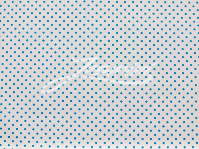 Plátno tyrkys puntík na bílé