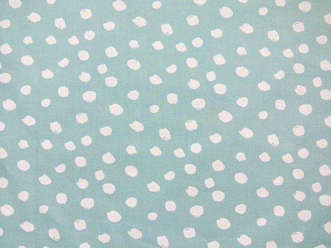 Plátno bílé nepravidelné puntíky na mátové