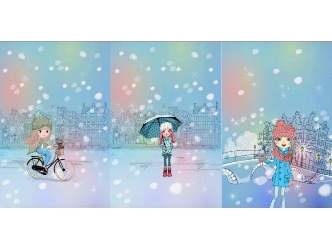 Elastická teplákovina dívky v zimě - modré (panel)
