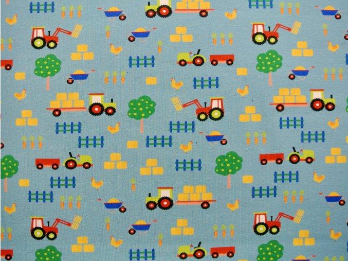 Elastická teplákovina traktory na poli (digitisk) - Jasmini vzor