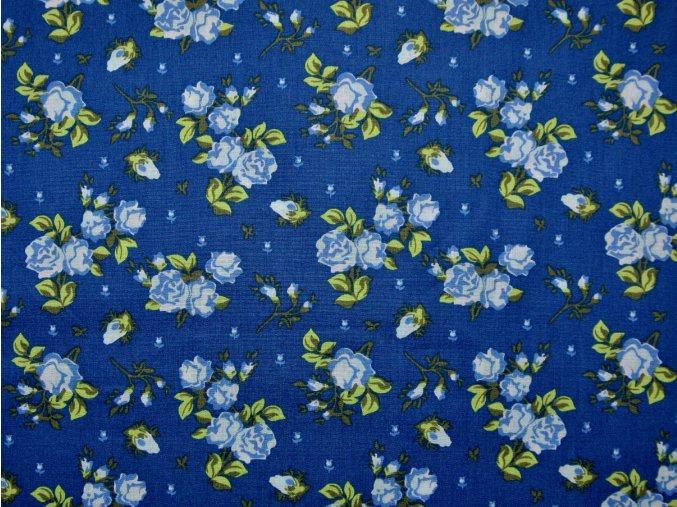 Plátno růžičky na modré