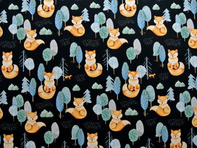 Elastická teplákovina lišky v lese na černé (digitisk)