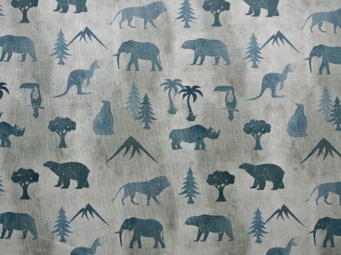 Elastická teplákovina safari na šedém džínsu (digitisk)