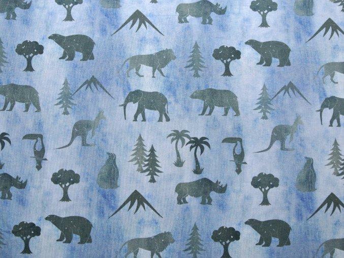 Elastická teplákovina safari na modrém džínsu (digitisk)
