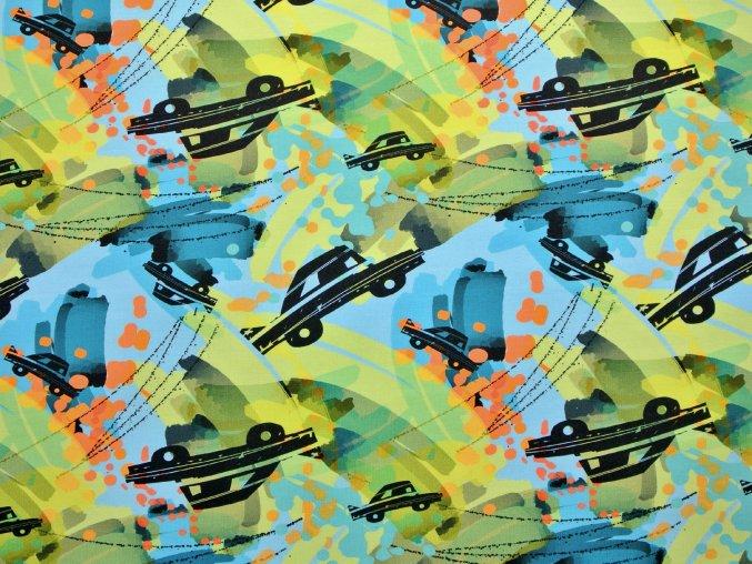 Elastická teplákovina auta na barevném podkladu (digitisk)