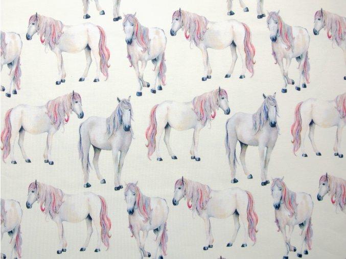 Elastický úplet koně na světle krémové (digitisk)