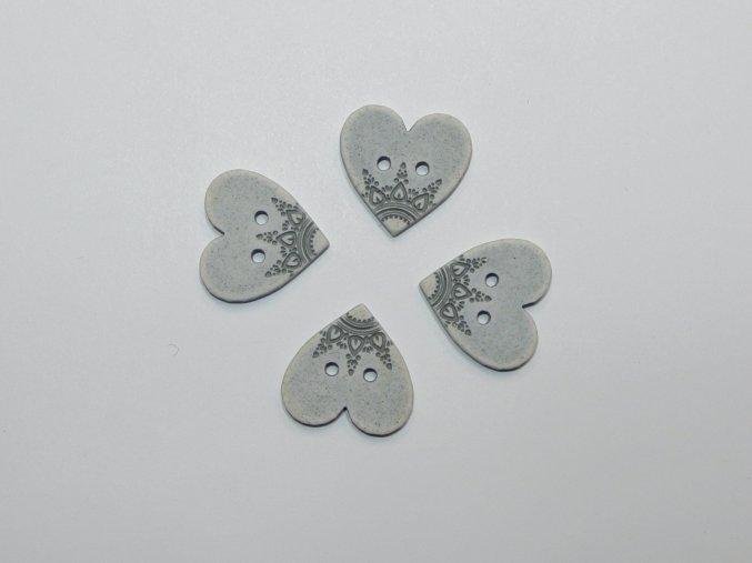 Knoflík srdce s ornamenty šedé malé
