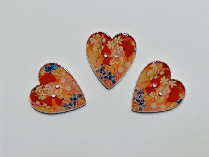Knoflík srdce srdce s květy