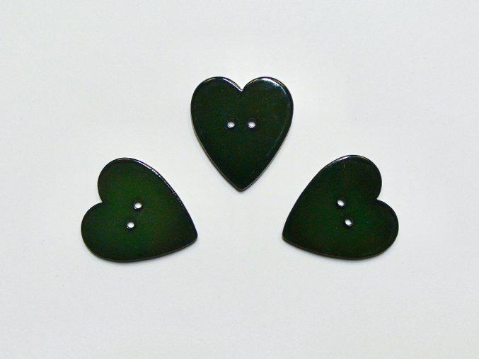 Knoflík srdce tmavě zelené