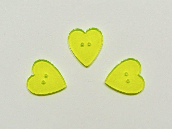 Knoflík srdce neon žluté