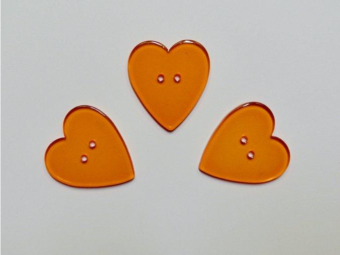 Knoflík srdce oranžové