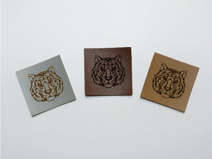 Štítek hlava tygra (koženka)