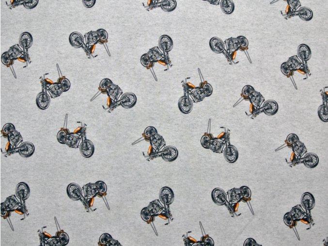 Elastická teplákovina motorky na šedém melíru
