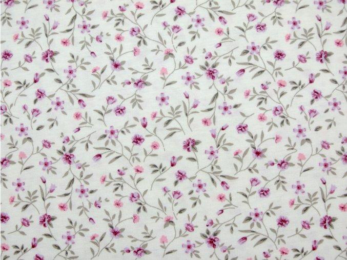 Bavlněný úplet jednolíc drobné fuchsiové květy