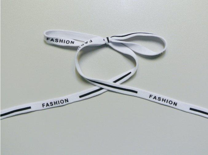 Šňůrka plochá Fashion bílá 10mm (PES)