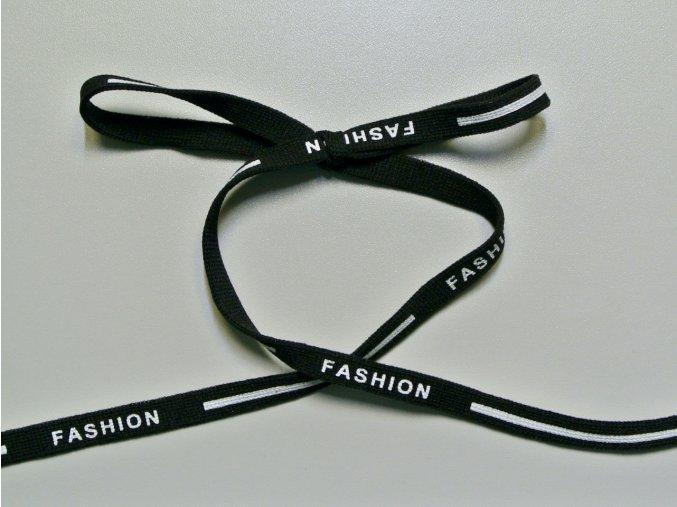 Šňůrka plochá Fashion černá 10mm (PES)