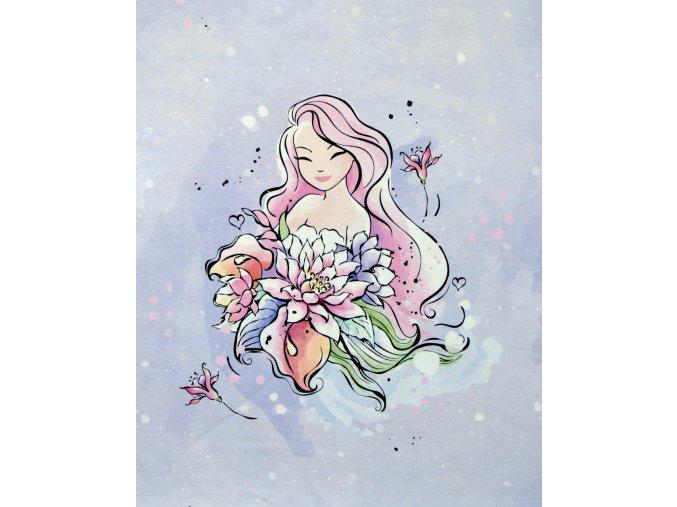 Elastická teplákovina dívka s květy - růžová (panel)
