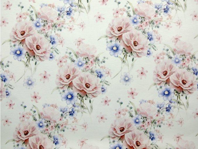 Elastická teplákovina svazky květů na krémové (digitisk)