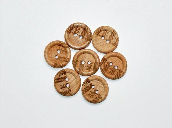 Knoflík dřevěný s nápisy Summer, Style cca 2,3cm