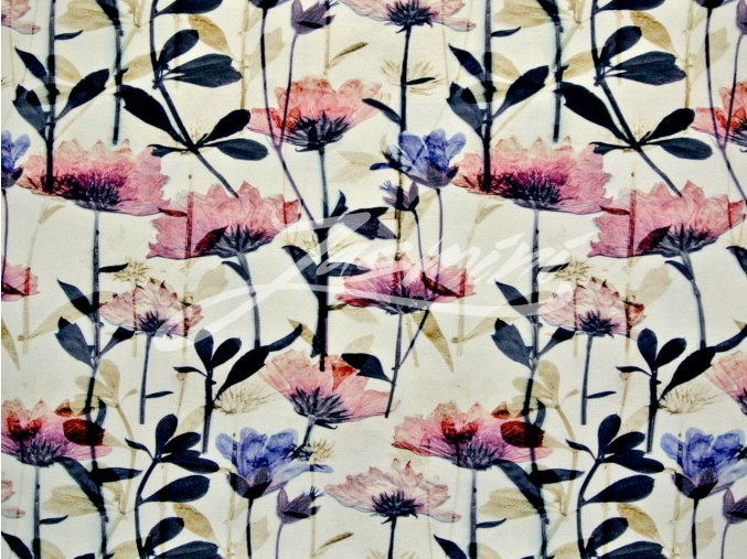Viskozový úplet květy na béžové (digitisk)