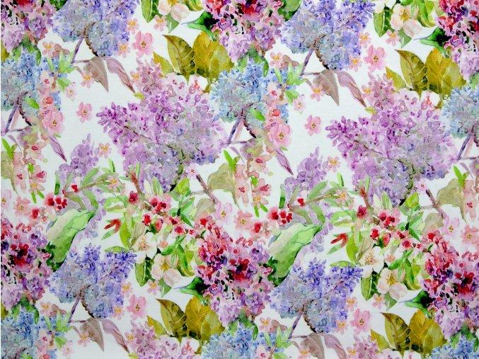 Viskozový úplet barevné květy (digitisk)