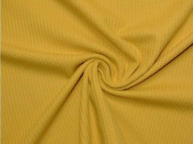 Elastický vaflový úplet žlutý