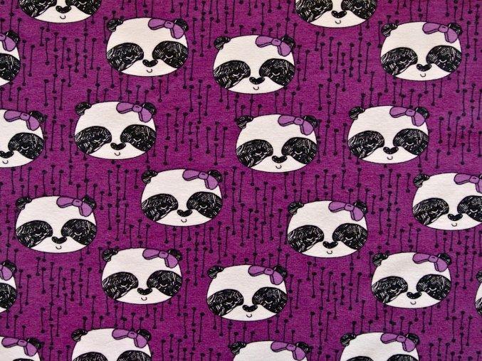 Elastický bio úplet pandy na fialové